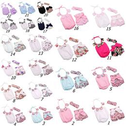 Wholesale Wholesale Purple Bodysuit - Baby Girl Romper Floral Petal Cotton Rompers + Bowknot Shorts +Bunny Ear Headband Infant 3pcs Set kids summer jumpsuits Infant bodysuit C478