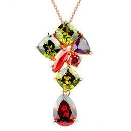 Wholesale large vintage pendant - New Arrival Vintage Necklaces Pendant Swaroski Crystals Rose Gold Chain Large Pendant Jewelry For Women 022-NE0003