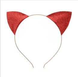 Acessórios para fantasias de gato on-line-Favors Ears Mulheres dos desenhos animados Headbands Cosplay Adultos Crianças Glitter Cat Halloween Fancy Dress Headband Costume Party Accessories