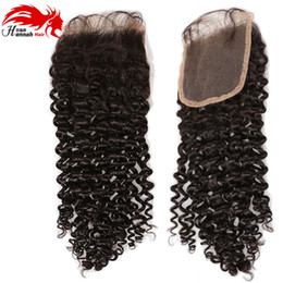 Wholesale Curly Remy Hair Styles - Hannah beauty Brazilian Deep Curly Remy Hair Lace Closure 4*4 Curly Wave 100% Human Hair Middle Part Style With Baby Hair