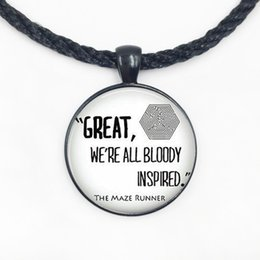 Wholesale Runners Necklace - Wholesale Glass Dome THE MAZE RUNNER Quote Pendant Necklace