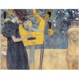 Wholesale Gustav Klimt Pictures - Framed Gustav Klimt abstract women scenery Handpainted Art Oil Painting,on High Quality Canvas Wall Art Picture Multiple sizes