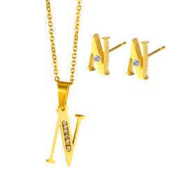 Wholesale Golden Group - Package mail promotion in Europe and the titanium steel letters diamond pendant earrings fashion accessories Stainless steel suit group