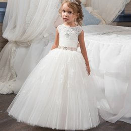 Wholesale Beautiful Prom Dresses Ball Gown - 2017 Beautiful Holy Communion Dress Ball Gown for Girls Size 6 8 Long Puffy Tulle Prom Dress Children with Sash Vestido de Daminha