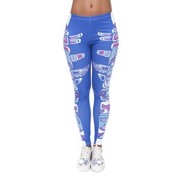 Wholesale Tight Fitting Girls - Lady Leggings Totem Blue 3D Graphic Print Women Pencil Fit Skinny Stretchy Yoga Tight Capris Girls Workout Full Length Trousers New (J40582)