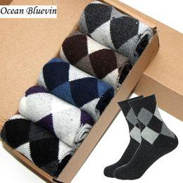 Wholesale Socks Bacterial - Hot Sale Rabbit Wool Men Socks Autumn Winter Warm Thick Double Rhombus Prints Soft Anti-Bacterial Durable Casual Sock Meias Free Shipping
