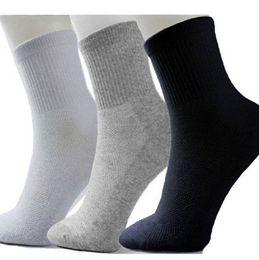 calcetines de trabajo Rebajas Al por mayor-2016 Nueva Classic Mens Cotton Blend Calcetines Calcetines de trabajo Tamaño libre Negro Blanco Gris NUEVO