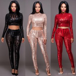 Wholesale Women Hot Pants Winter Shorts - 2 Piece Set Women Crop Top Long Pant Set 2016 Hot Autumn Winter Fashion Sequined Long Sleeve Club Party Outfits Clothing Set