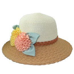 Wholesale Womens Wholesale Large Brim Hats - Wholesale- Straw Cap Womens Flowers Wide Large Brim Summer Beach Sun Hat Mixed Colors