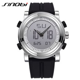 Wholesale Silicone Watch Waterproof 3atm - Wholesale- SINOBI Sport Watches Men Silicone Strap Led Digital Wristwatch 3ATM Waterproof Luxury Quartz Men Watch Relogio Masculino