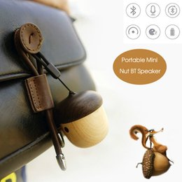 Wholesale Exclusive Mobile Phones - Wooden Nut Bluetooth Speaker Exclusive Mini Portable with Built-in Microphone Strap Rechargeable Loudspeaker for Travel Running Retail Box