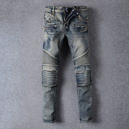 Wholesale European Runway - Mens Skinny jeans men new Runway Distressed slim elastic jeans denim Biker jeans hiphop pants Washed black for men blue hight quality 1006