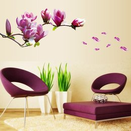 Wholesale Environmental Murals - Hight quality Magnolia Flowers Removable Art Vinyl Mural Home Room Decor Wall Stickers Non-toxic, environmental protection, waterproof
