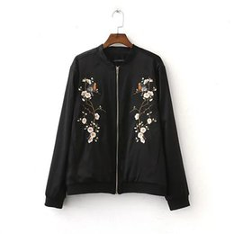 Wholesale College Outerwear - Wholesale- Floral Bird Jacket Women 2016 Basic Coats Bomber Jacket Black College Coat Pilots Outerwear chaquetas mujer casaca ethnic jacket