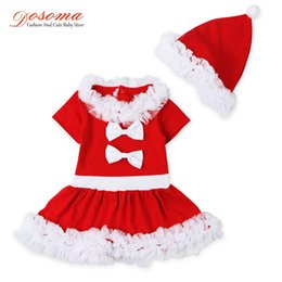 Wholesale Babys Suits - Wholesale- Kids clothing sets 2016 babys christmas costume fashion lace bow dress + hat two pieces christmas suit kids girls clothing sets