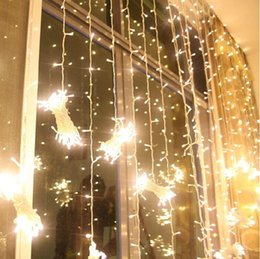 Wholesale green stars background - Up and down waterfall lights Wedding background light curtain LED Fairy Christmas lamp festival lamp 3*3M 6M*3M led running waterfall lights