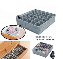 Wholesale Tie Wardrobe - Durable 30 Cell Wardrobe Bra Underwear Organizer Storage Box Bamboo Ties Boxes Non Woven Fabric Closet Hot Sell 8 5wz J R