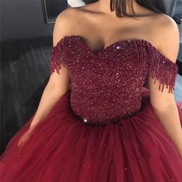 Wholesale Heavy Bridal Satin Wedding Dress - Burgundy Tulle Wedding Dresses Ball Gowns Off The Shoulder With Tassel Heavy Crystals Bridal Dress with Corset Back