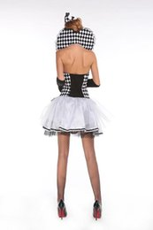 Wholesale Suited Poker - Halloween is the new black and white poker queen princess dress the circus clown suit Modern drama dance costume