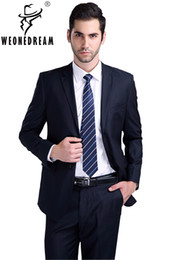 Wholesale Fly Commercial - Wholesale- (Jacket + pant + tie) Suit male slim formal groom married men's clothing wear commercial suits men business suits