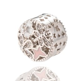 Wholesale Wholesale Factory Beads - Factory Outlet Lovely Pandora Charms Silver Bloom Beads Micro Pave Beads For Jewelry Making ICPD026 Size 12.8*8.9 mm