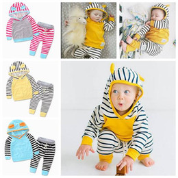 Wholesale Wholesale Childrens Sweatshirts - kids clothing girls boutique sets ins cotton baby kids hoodies sweatshirts + stripe pants childrens outfits baby boy long sleeve hooded suit