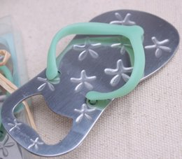 Wholesale Flip Flop Bottle Opener Starfish - starfish flip flops bottle opener Creative Sandals Shoes Beer Bottle Red Wine Openers Slipper Shaped Wedding Favor LLFA