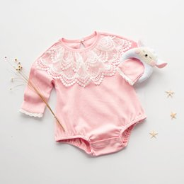 Wholesale Cute Lace Rompers - Everweekend Baby Girls Lace Neckline Cotton Rompers Candy Color Spring Cute Baby Clothing