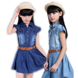Wholesale Short Dresses For Teenagers - 2017 New Clothing For Girls 3 to 15 Years Cotton Girls Denim Dress Toddler Girls TuTu Party Dress Teenager Girl Summer Dresses