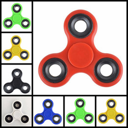 Wholesale Black Acrylic Desk - New Hand Spinner Tri Fidget Acrylic Plastic Ball Desk Focus Toy EDC For Kids Adults Finger Spinning HandSpinner Metal Gyro Decompression