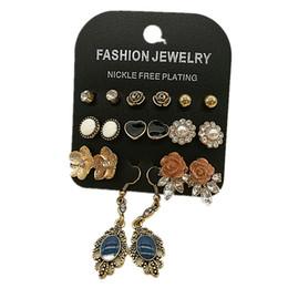 Wholesale Enamel Flower Stud - Enamel black heart and carving navy drop 9 Pairs sets earring