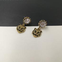 Wholesale Leopard Fashion Jewelry - New brand Vintage Metal Leopard Stud Earrings for Women Fashion Jewelry Gold earring Rhinestone brincos pendant Punk Bijoux accessories 2017