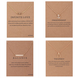 Wholesale Infinity Necklaces For Women - With card Dogeared Necklaces Gold Plated infinity LOVE Friendship Anchor Balance bar Thanks Bone Pendant Necklace For Fashion women Jewelry