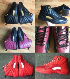 Wholesale Diamond Men Shoes - Free Shipping With Box 2017 Men Basketball Shoes Air Retro 12 Athletics Sneakers for Men Sports Shoes Purple Red Rouge Black Diamond