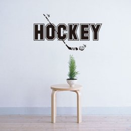 Wholesale Hockey Murals - 44.5x82cm English Motto Hockey Sport Vinyl Wall Stickers Removable Art Mural for Home Decoration Kids' Bedroom