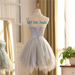 Wholesale Light Coral Pink Dress - Real Pictures Light Gray Bridesmaid Dresses 2017 Summer Style Pleats Tulle Shining Top Short Bridesmaid Dresses Royal Blue Pink