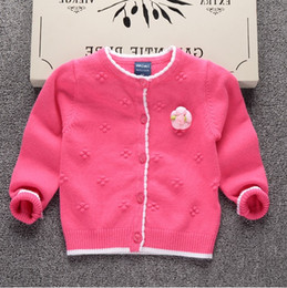Wholesale Baby Girl Purple Coats - Baby girl Sweater Sweet Flowers corsage Jacqurd Cardigan Soft Cotton Sweaters Coat Children clothing 2017 Pink rose Purple Wholesale
