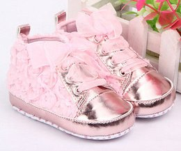 Wholesale Pre Walker White Shoes - Wholesale- Toddler Baby Kid Girl Non-slip Soft Sole Crib Sneaker Shoes Pre-walker Boots White Pink Uk size 0 -24M