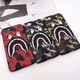 Wholesale Cartoons Cases - 3D Cartoon Phone Case for iphone X iphone 8 7 6 6S plus hard PC cameo defender case camouflage shark protector case lovers design GSZ254