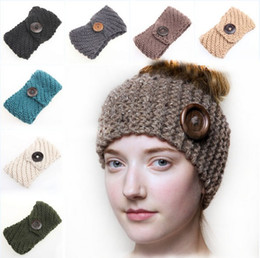 Wholesale Lace Hair Bands For Women - New Women's Fashion Wool Buttons Crochet Headband Knit Hair band Flower Winter Ear Warmer headbands for women