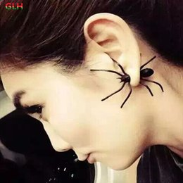Wholesale Cool Spider - 1PCS) 2016 new fashion jewelry girl cool black spider earrings female gifts