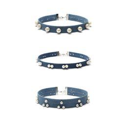 Wholesale Womens 3pcs Sets - 3pcs set pearl Denim Collar Necklace Short Jewelry necklace Female Combination Models Womens Jewelry New Arrival Party Choker Wholesale