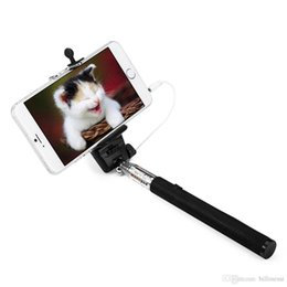 Wholesale Ios Usb Cable - Z07 3.5mm 100CM Extendable Selfie Handhold Stick USB Cable Connection with Adjustable Holder Extendable For Android IOS Phone +B
