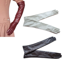 Wholesale Ladies Opera Leather Gloves - Wholesale- Women Ladies Opera Evening Party Gloves Faux Leather PU Over Elbow Long Glove Hot 7 Colors PY6 CQ4