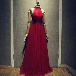 Wholesale Real Image Evening Dresses - 2017 New Arrival Classy A-Line Prom Party Dresses Beaded Halter Burgundy Long Evening Formal Gowns Real Pictures Factory Wholesale