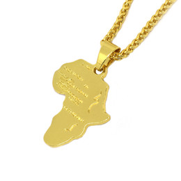 Wholesale gold african map pendant - Hiphop Africa Necklace Gold Color Pendant & Chain African Map Gift for Men Women Ethiopian Jewelry Trendy P544