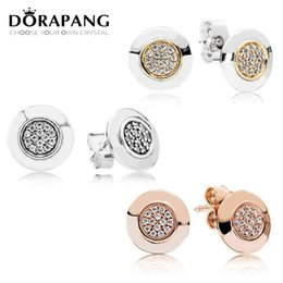 Wholesale 925 Silver Rose Stud Earrings - DORAPANG 100% 925 Sterling Silver & 14 K Gold Color Round Stud Earring Rose Gold zircon Original Autograph Earring DIY Wholesale