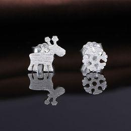 Wholesale Deer Earring - 64Pcs Lot Brand Trendy Exquisite Mini Snowflakes-Deer Stud Earrings 925 Sterling Silver Fashion Jewelry Girls Party Earrings Nice Gift