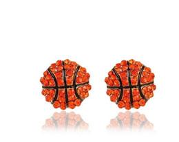 Wholesale Orange Earrings Studs - Pop Sport Basketball Crystal Rhinestone 14mm Drop Stud Fashion Earrings Gold Orange