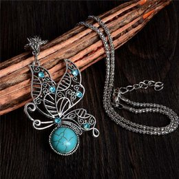 Wholesale Tibetan Butterfly Necklace Turquoise - Wholesale-Vintage Butterfly Necklace Tibetan Silver Design Lady Jewelry Turquoise Necklaces & Pendants For Memorial Gift